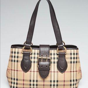 Burberry Haymarket Coated Canvas/Leather Handbag